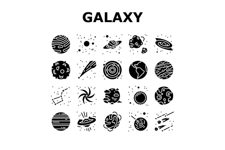 Galaxy System Space Collection Icons Set Vector example image 1