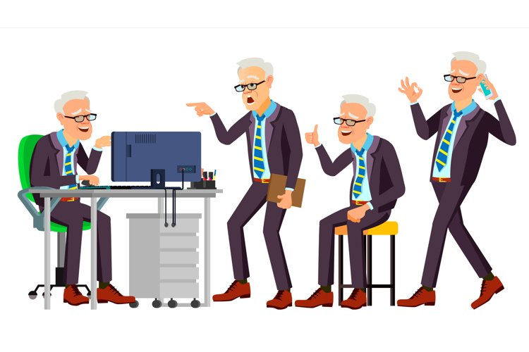 Old Office Worker Vector. Face Emotions example image 1