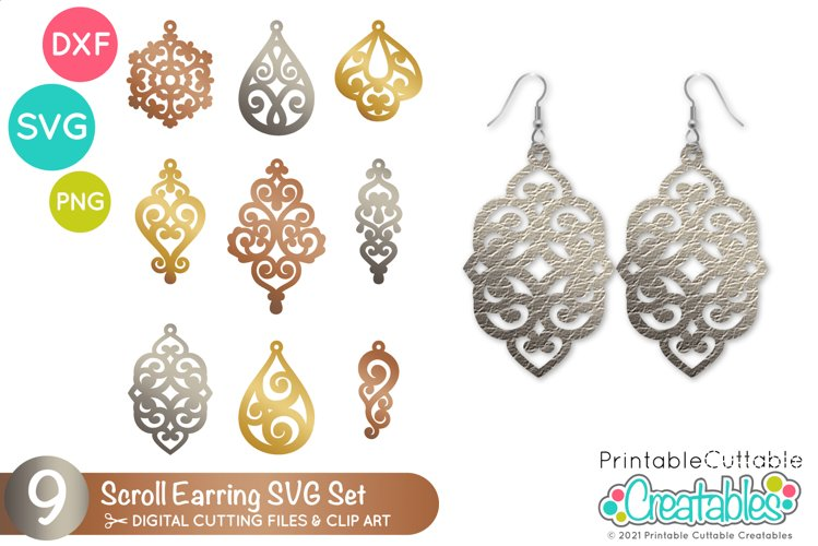 Scroll Earring SVG Files | Leather Earrings Templates example image 1