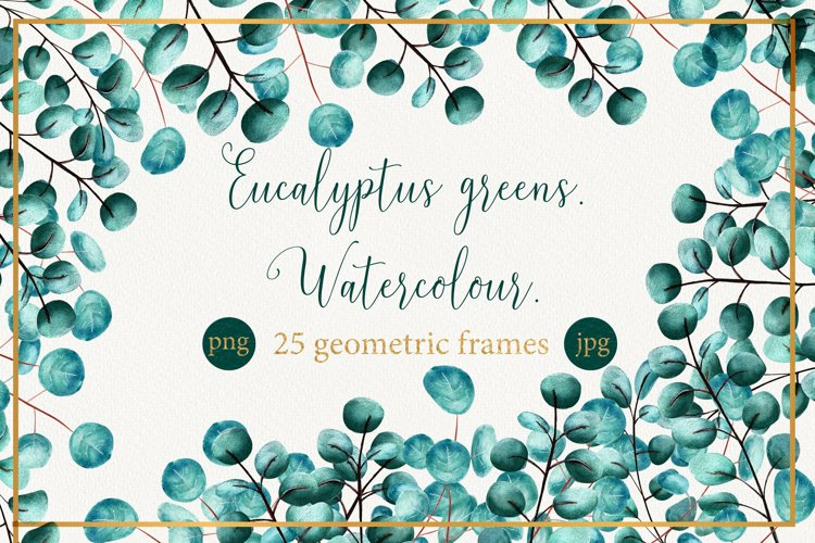 Watercolor frames with eucalyptus leaves