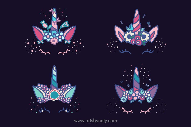 Unicorn and flowers vector SVG clipart.