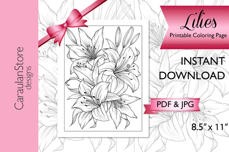 Floral Coloring Book Page, Lilies Coloring Page, JPG, PDF