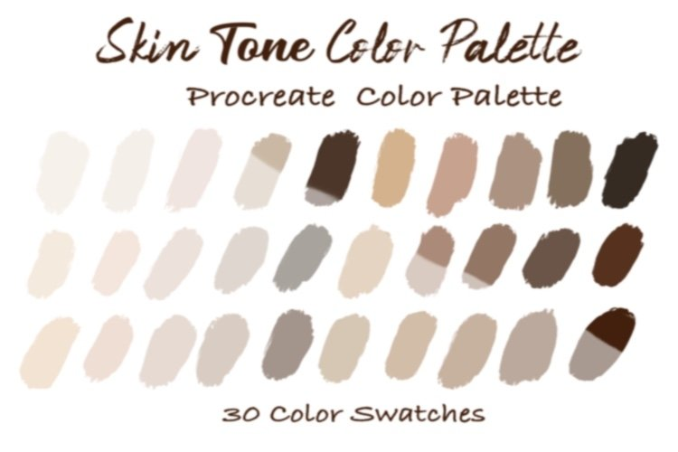 Skin Tone Color Palettes,Skin Color, Procreate Palettes example image 1