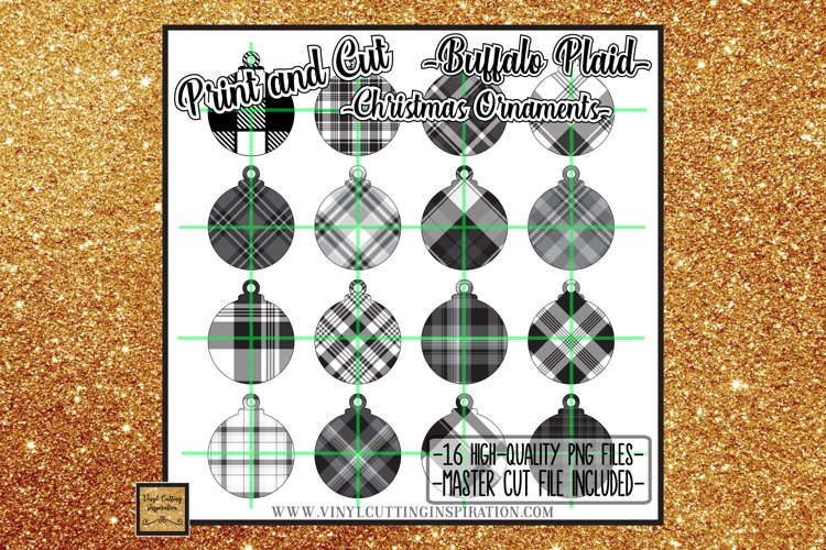 16 Buffalo Plaid Christmas Ornaments Print and Cut Svg Bundl example image 1