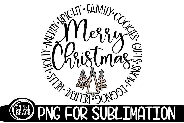 Merry Christmas - Sublimation Pastel Glitter Christmas PNG