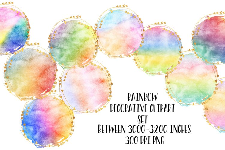 Golden Rainbow Clipart Set For Sublimation and Logos example image 1