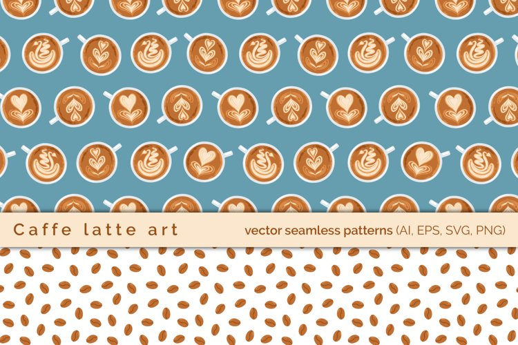 Coffee Art Cups vector seamless pattern