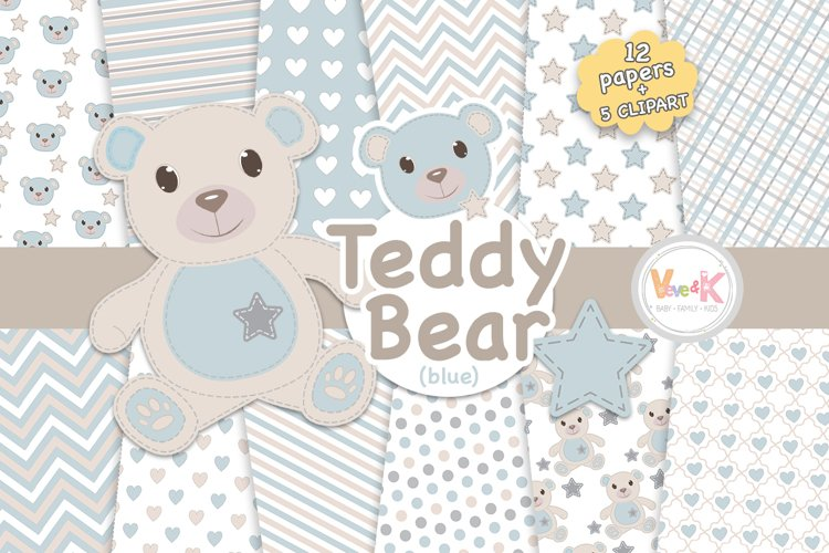 Teddy Bear Digital Papers, Stitched Bear Clipart, Baby Blue Paper Pack, Baby DIY, Stitch BlueTeddy Bear, Baby Blue and Grey
