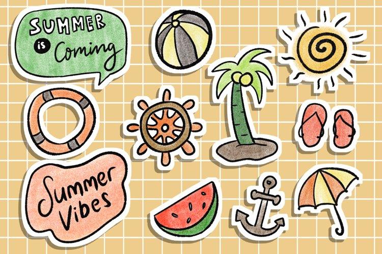 Summer Stickers Scrapbook Supplies, Tumblr Aesthetic example image 1