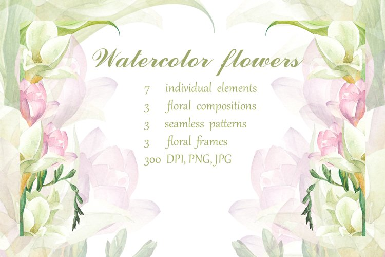 Watercolor calla lilies. Floral pattern, designs and frames.