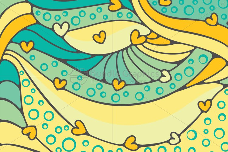 Heart Waves Colorful Vector Background example image 1
