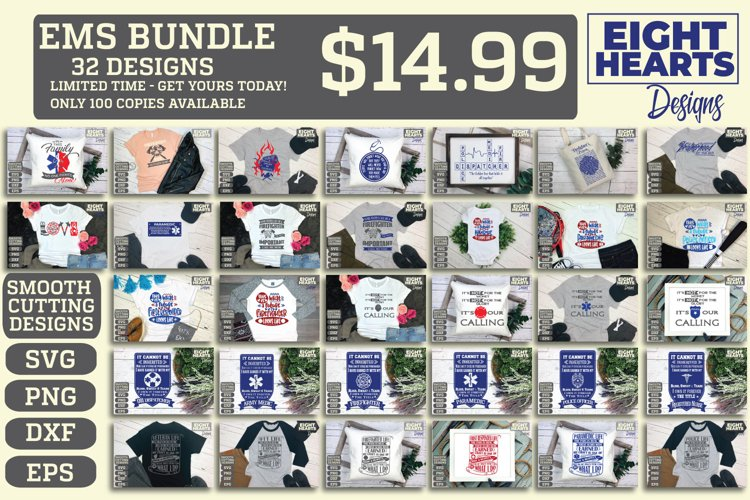 EMS Bundle - Limited Time ONLY- SVG,DXF,PNG,EPS, Iron on
