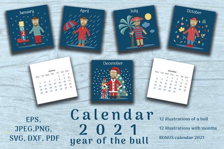 Bull set. Calendar 2021 year. 24 cards plus bonus calendar. example image 1