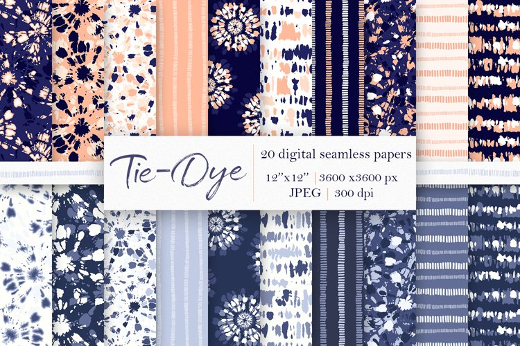 20 Tie-Dye Digital Papers, Seamless Patterns