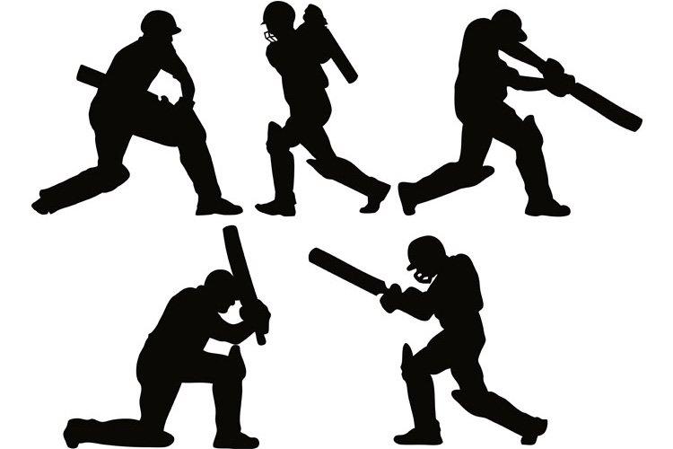 cricket player batsman batting silhouette example image 1