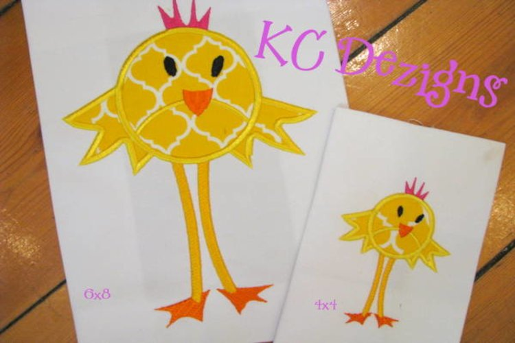 Easter Princess Chick Machine Applique Embroidery Design