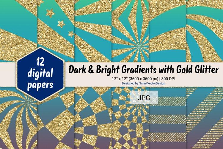 Sunburst & Hatch Stripes - Gradients with Gold Glitter #17