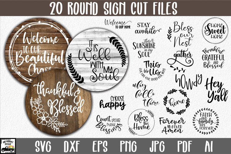Round Sign Bundle - Round SVG Files - Farmhouse Signs example image 1