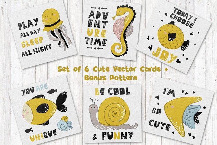 Cartoon Sea Animals - vector cards example image 1