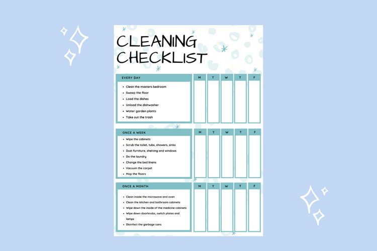 Cleaning Checklist printable planner example image 1