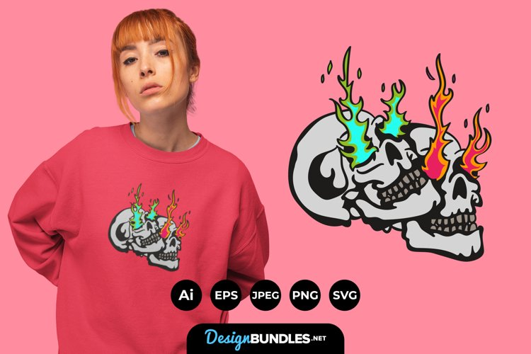 Skull with Fire Illustrations for T-Shirt Design