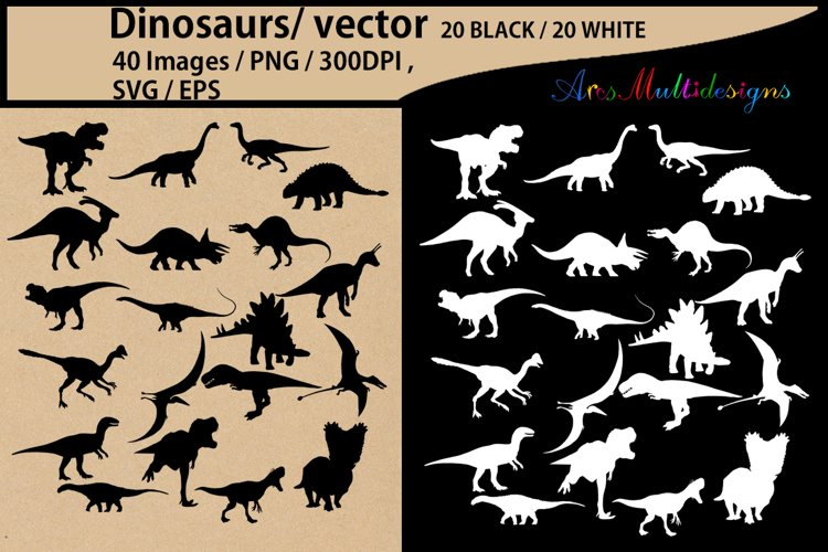 Dinosaurs silhouette svg / dinosaur Clipart, Iron on Transfer, Scrapbooking & Crafts / SVG template / EPS / PNG /animal silhouette / vector example image 1