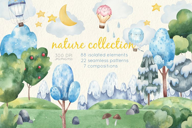 watercolor nature collection