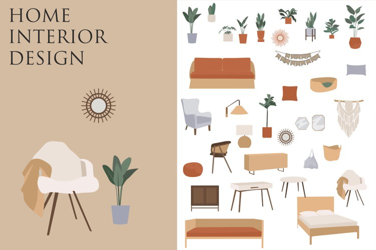 Bohemian Decor Illustrations, interior design, furniture cli example image 1