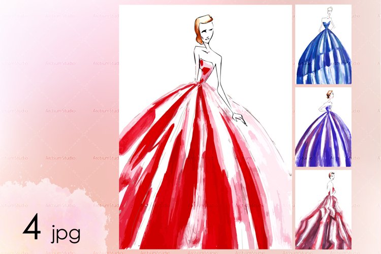 Hand-drawn sketches with new look style dresses of 1950s