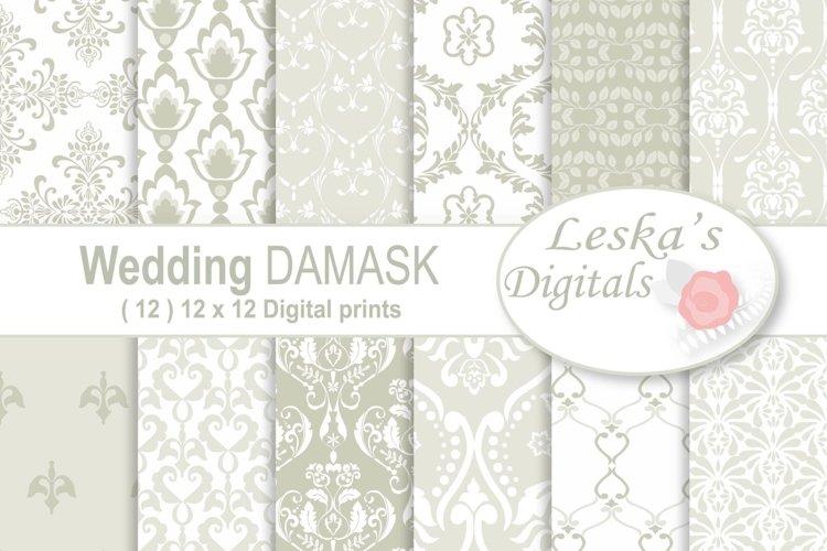 Wedding Damask Pattern Digital Paper example image 1