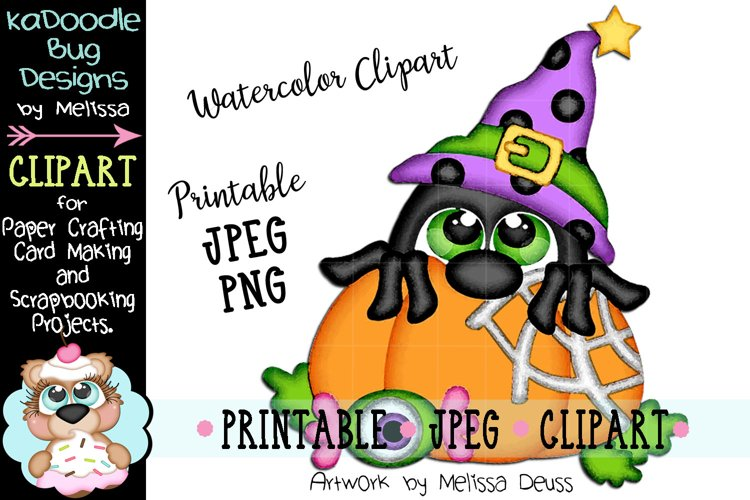Pumpkin Witch Spider Watercolor Clipart - JPEG PNG File example image 1