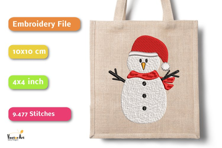 Snowman - Embroidery File - 4x4 inch example 2