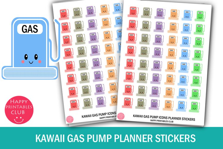 Kawaii Gas Pump Icons Planner Stickers- Gas Pump Stickers example image 1
