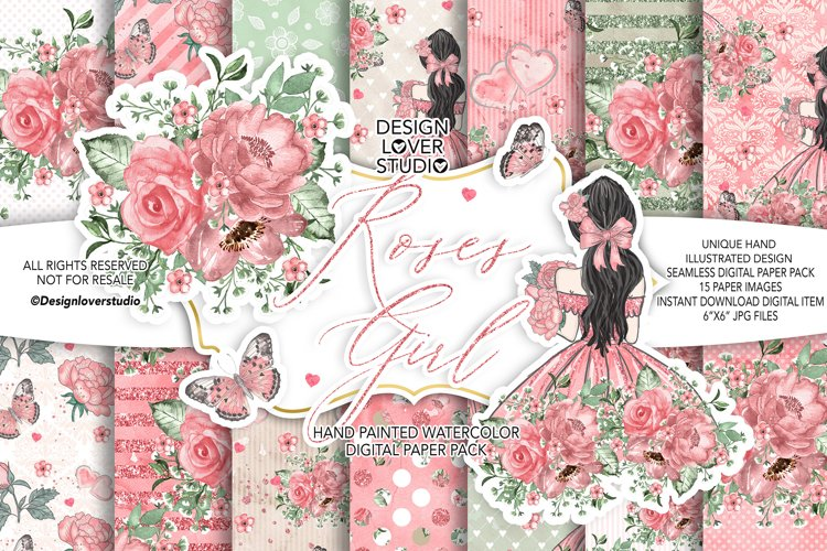 Roses Girl digital paper pack example image 1