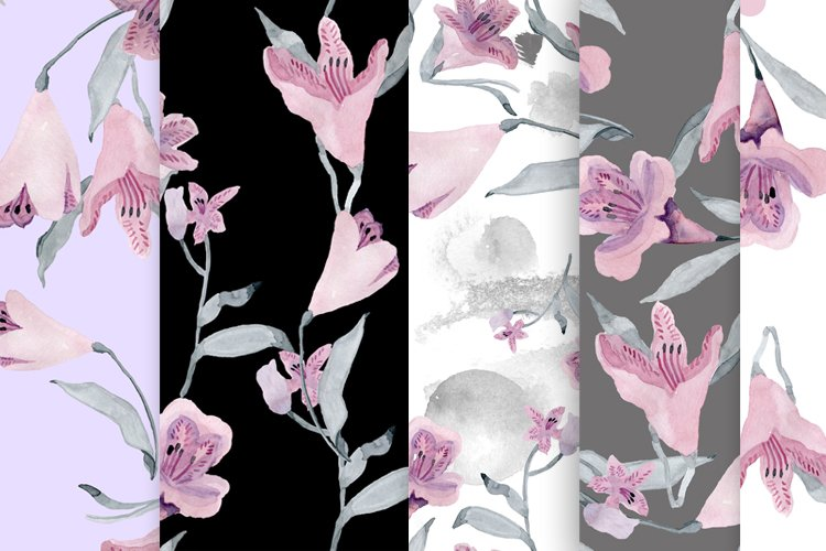 gray-pink watercolour flowers