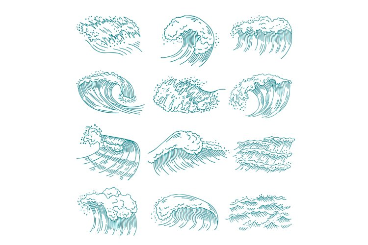 Monochrome pictures set of marine waves with different splas example image 1