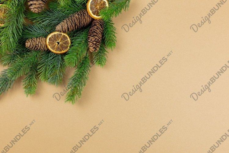 Christmas tree branches on paper background. Flat lay photo. example image 1