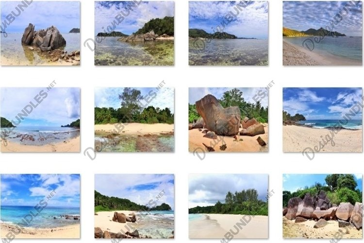 12 Tropical beach panoramas at the Seychelles Islands