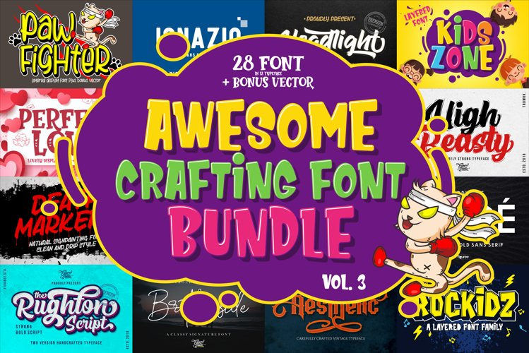 Awesome Crafting Font Bundle Vol. 3
