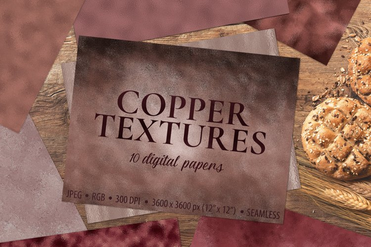 Copper Foil Textures - 10 Seamless Digital Papers