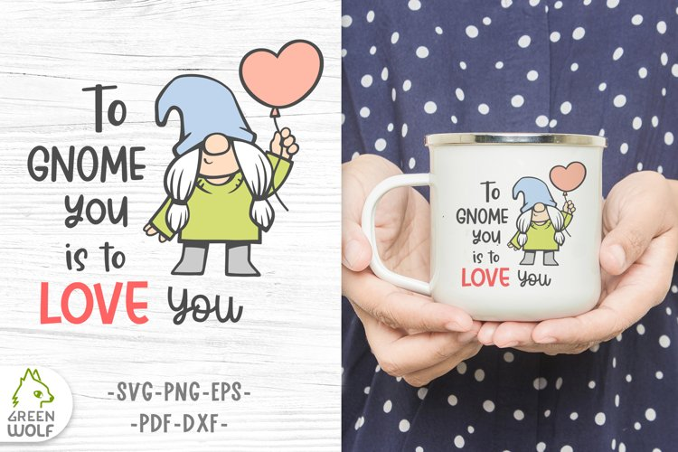Girl gnome svg Valentine sublimation gnomes design Gnome png example image 1