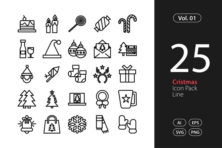 Christmas Icon Line SVG, EPS, PNG example image 1