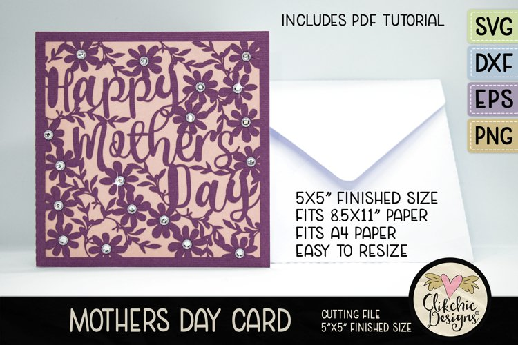 Mothers Day Card SVG - Happy Mothers DayCard Cutting File