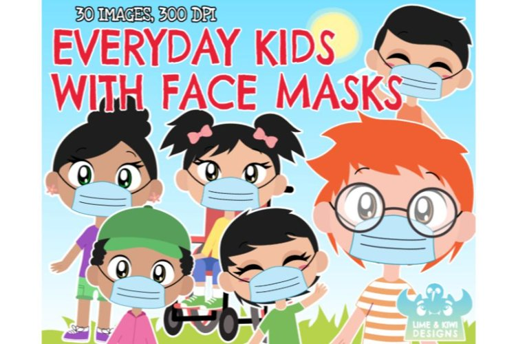 Everyday Kids with Face Masks Clipart - Lime and Kiwi Design