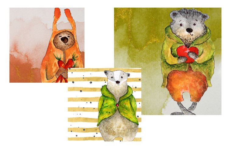 Cute animals Hand painted illustration set fox, bear, badger example 4