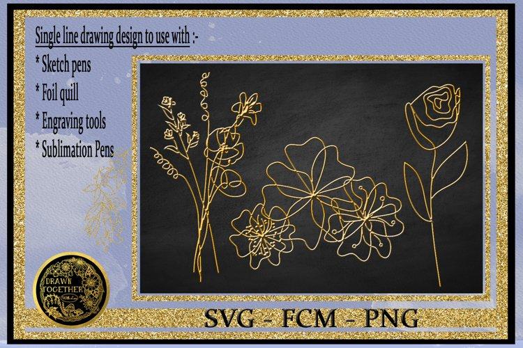 Single Line SVG Foil Quill Florals for Cricut  Silhouette