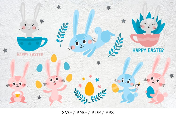 Cartoon easter rabbits collection - SVG, PNG
