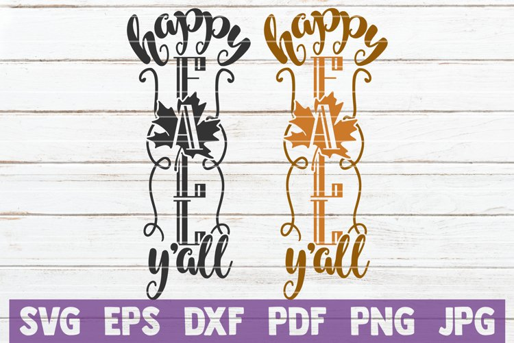 Happy Fall Y'all SVG Cut File | Fall Porch Sign example image 1
