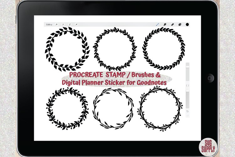 Wreath Set PROCREATE STAMP/BRUSHES & Sticker for Goodnotes