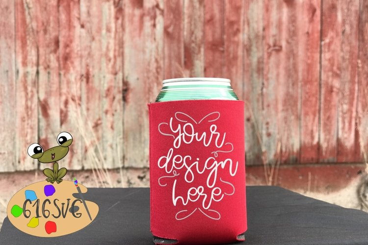 Red Can Cooler Mockup example image 1